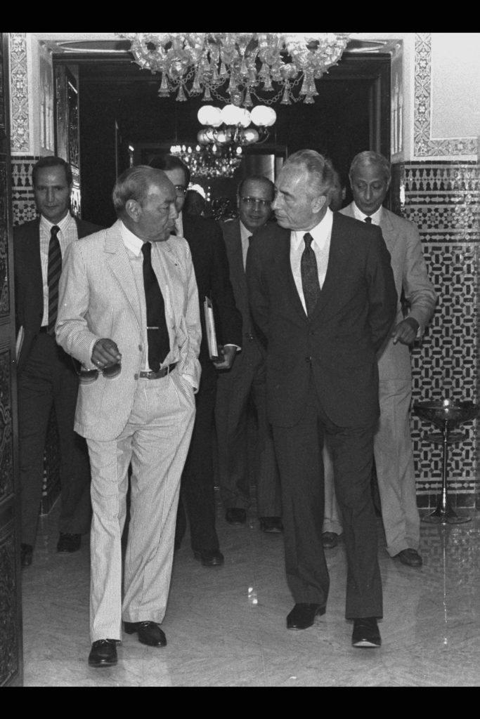 Le Roi Hassan II du Maroc et le 1er Ministre Israélien Shimon Peres